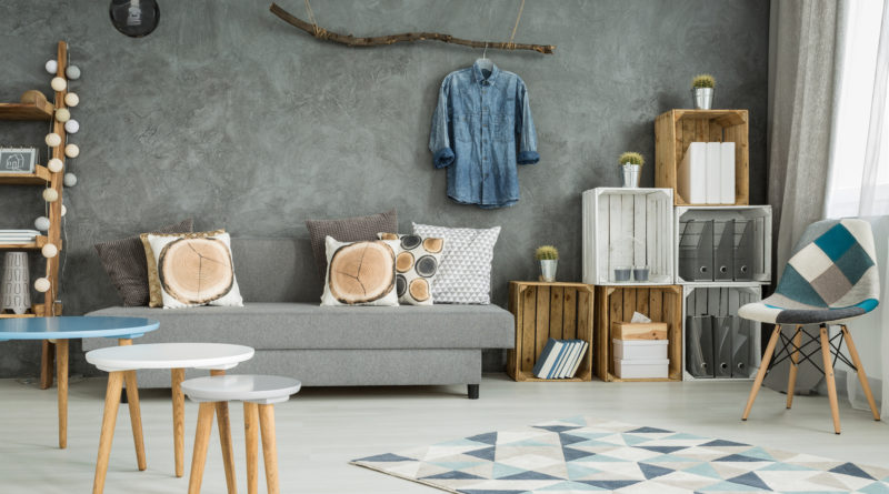 Grey living room in new style with DIY furniture chair pattern carpet sofa and creative home decorations