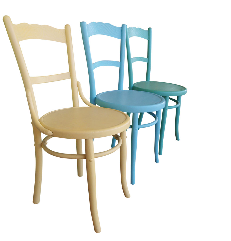 Three Antique Painted Chairs isolated with clipping path